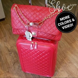 Quilted LARGE Flap Bag & Carry On Trolly Set